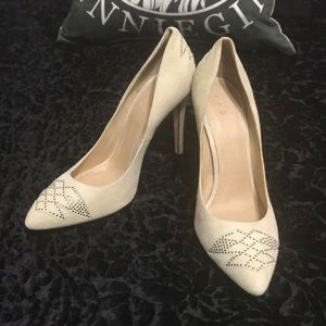 IRO Ivory Suede Silver Stud Pumps Shoes Heels